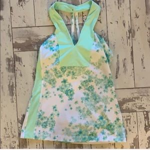 Lululemon green & white floral tank , size 4